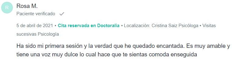 Rosa M. comentario